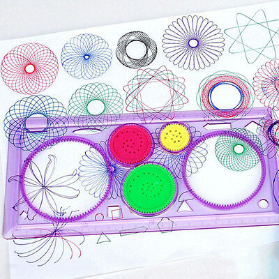 Creative Spirograph Geometric Ruler Stencil Template Spiral Drawing Board Random