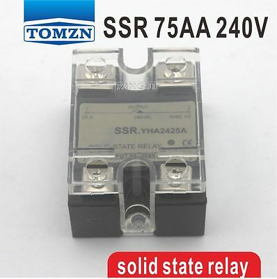 75AA SSR input 90-250V AC load 12-240V AC single phase AC solid state relay