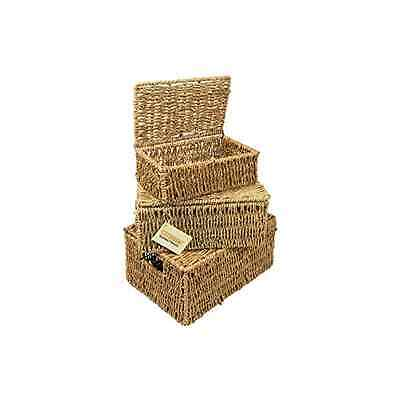 WoodLuv Seagrass Storage Basket with Lid Set of 3 - SAME DAY DISPATCH