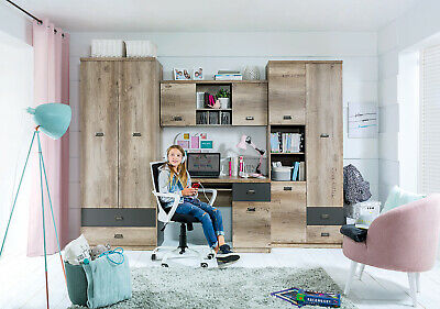 Children, teens bedroom furniture, set Malcolm, strong and solid, 4 pieces