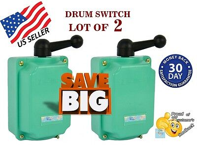 2 pcs. Drum Switch 60A Forward-Off-Reverse Motor Control 7.5KW - Guaranteed