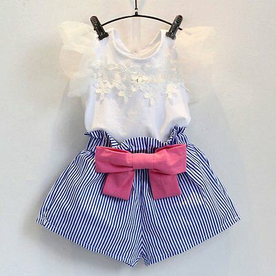 2PCS Kids Baby Girls Lace Floral T-shirt Tops+Bowknot Shorts Clothes Outfits Set