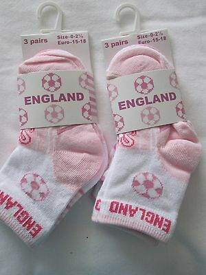 6 prs GIRLS WHITE AND PINK ENGLAND DESIGN ANKLE SOCKS- 0-0; 0-2.5 & 3-5. 5