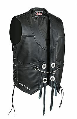 UK Stock New Mens Genuine Leather Motorcycle Biker Waistcoat Vest With Chain