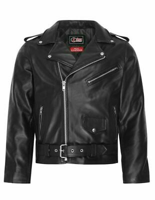 Mens Real Leather Brando Motorbike Motorcycle / Biker Jacket All Sizes New