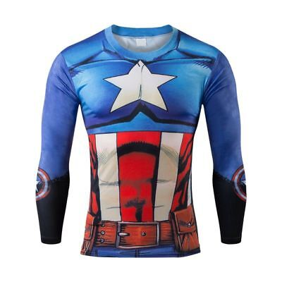 Mens Captain America compression top gym superhero avengers marvel muscle gift