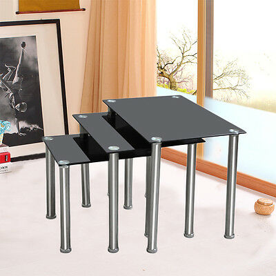 Tempered Glass Nest of 3 Coffee End Lamp Side Table Set Chrome Legs Black Clear