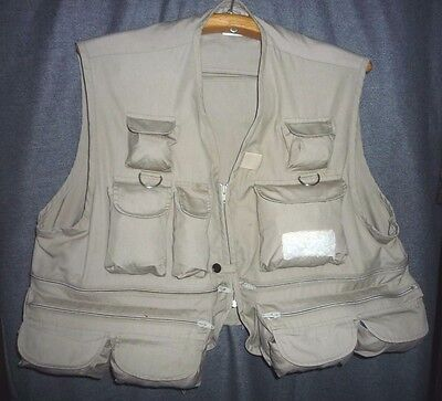 "Fishing Vest Xl 18 Pockets Woodfield Zippered Net Loop Gadget Vest 49"" Chest"