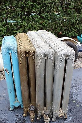 "Antique Set Cast Iron Radiators Tall Ornate Set of 5 / 48"" / 32"" / 30"" / 25"" /15"