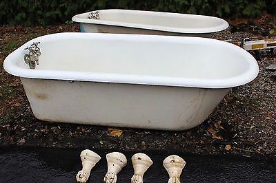 Antique Pair 5 FT Cast Iron White Porcelain Claw Foot Bath Tub/  Just Removed