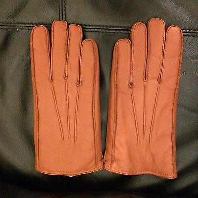 Vintage unused  quality mens leather gloves with woollen pile lining size 8/8.5