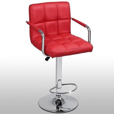 Swivel Bar Stool Height Adjustable Kitchen Counter Chair Arm and Footrest Red