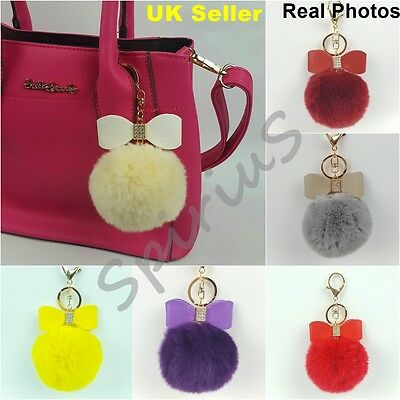 Real Rabbit Fur Ball PomPom with Bow Accessory Bag Charm Keyring Keychain UK