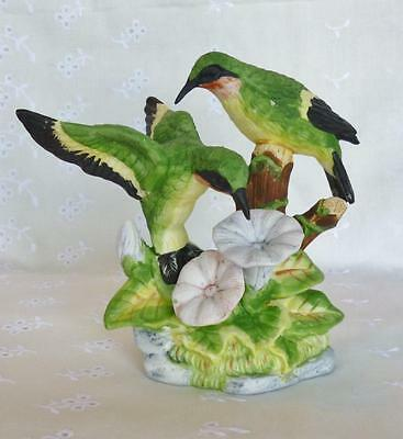 Russ NATURE'S SONG Ruby-Throated HUMMINGBIRD Bisque PORCELAIN Figurine
