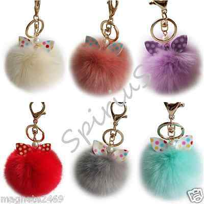 Faux Fur Ball Pompom Keyring with Pearl Bow / Ears Accessory Bag Car Pendant