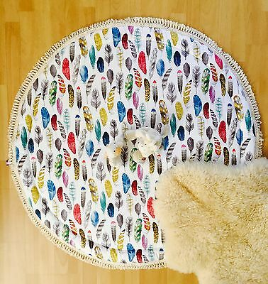 Luxurious Feathers Baby Padded Round Tummy Time Play Mat Roundie Nursery Rug