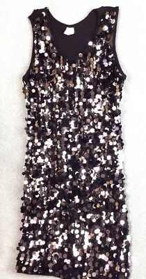 Stars Dancewear Girls Black with Silver & Black Sequins Size Large (10-12)