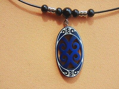 [ Pendant #119 - Blue ]   Handmade Carving By Ancient Ainu Tribe Of Hokkaiko