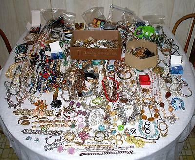 Huge Vintage to New Estate Jewelry Lot Designer 14K Gold Rhinestones some NWT