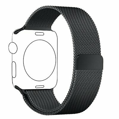 Cinturino Apple Watch 42mm Nero, PUGO Iwatch in Maglia Milanese Acciaio 42mm
