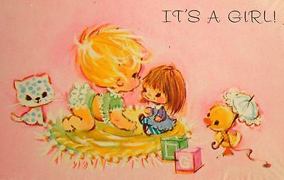 "Vintage ""It's a Girl"" Pink Birth Announcement Cards w/Envelopes, Kawaii"