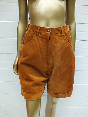 Vintage Retro Tan Suede Leather Pleat Shorts Pants 14 M