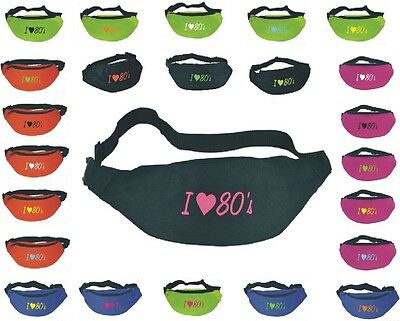 I Love the 80's Bum Bag 1980s theme Black / Fuchsia Pink /Lime Green/Fancy Dress