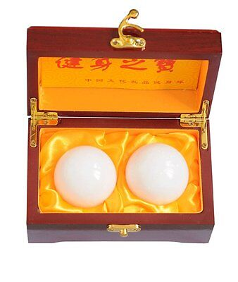 "2"" Natural Jade Stone Baoding Fitness Balls Chinese Health Exercise Stress Balls"