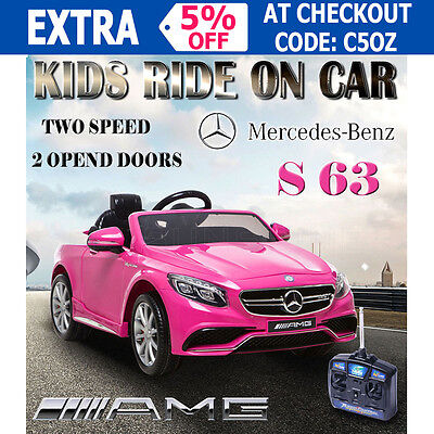 Licensed Mercedes Benz S63 AMG Kids Electric Ride on Car Children Battery Pink
