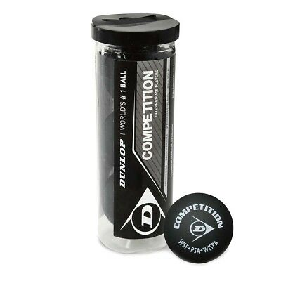 NEW Dunlop Competition 3 Ball Tube Squash Balls from Rebel Sport