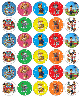 30x Paw Patrol Cupcake Toppers Edible Wafer Paper Fairy Cake Toppers