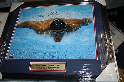 Team Usa Swimming Michael Phelps Signed 16X20 Photo Framed Gold Medal Psa/dna