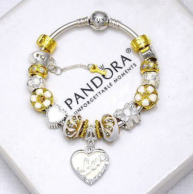 Authentic Pandora Bracelet Bangle with Gold White Wife Mom European Charms New