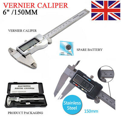 "6"" 150mm Large LCD Screen Stainless Steel Micrometer Vernier Caliper Hardened UK"