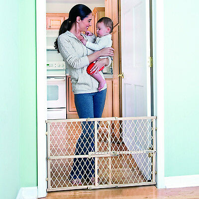 Wide Extending Safety Gates for Stairs Wood Baby Kids Toddlers Dogs Protection