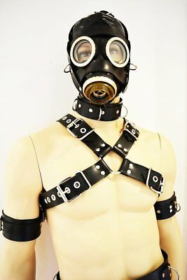 BlackRuBB Latex Brustharness S-M Rubber Bondage Fesseln Harness Mask Anzug