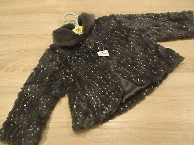 Baby Girls Grey Fur Winter Occasional Party Coat Jacket 12-18 Months BNWT