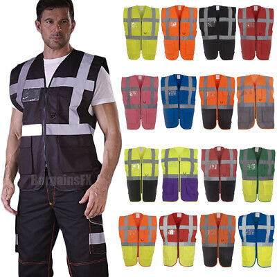 High Vis Visibility Executive Vest with ID Phone Holder Pockets 2 Tone Waistcoat