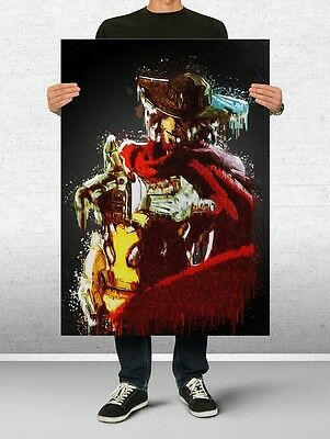 McCree Overwatch Poster Art Print Watercolor Wall Decor Game Print Poster Gift