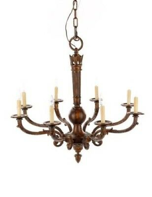 Louis XVI 8-Light Chandelier Patinated Metal & Iron