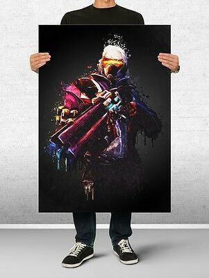 Soldier 76 Overwatch Poster Art Print Watercolor Wall Decor Game Print Poster