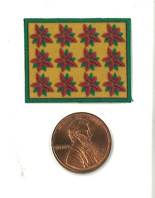 Dollhouse Miniature Christmas Place Mat in Yellow with Poinsettias