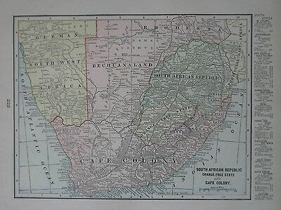 Original 1900 Map GERMAN SOUTHWEST AFRICA CAPE COLONY ORANGE FREE STATE Rhodesia