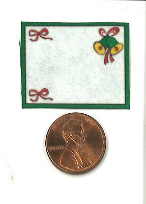 Dollhouse Miniature Christmas Place Mat in White with Bells & Ribbons