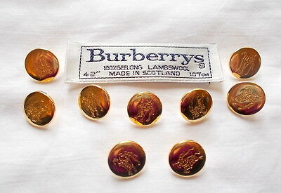 """Vintage Burberry Replacement Buttons 9 – 5/8"""" Gold Knight Logo Shank"""