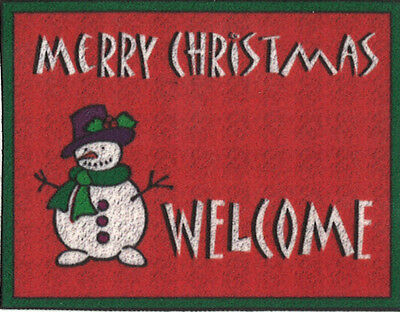 Dollhouse Miniature MERRY CHRISTMAS Welcome Door Mat with Snowman ~ 314