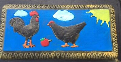 Concrete Cement Hen and Rooster Scene Chickens Bench Mold,   top only.