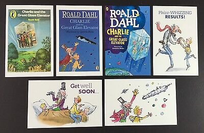 6 x ROALD DAHL POSTCARDS Quentin Blake CHARLIE & THE GREAT GLASS ELEVATOR Lot