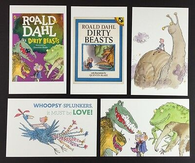 5 x ROALD DAHL POSTCARDS Book Covers DIRTY BEASTS Lot QUENTIN BLAKE Set QUOTES