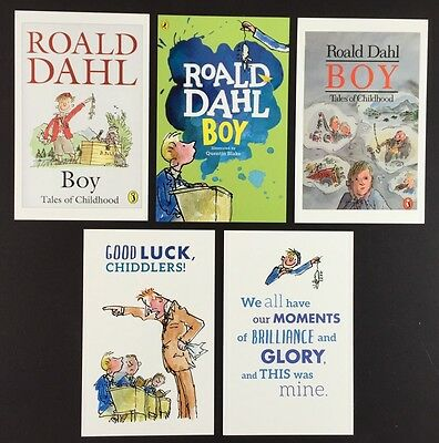 5 x ROALD DAHL POSTCARDS Book Covers BOY Lot QUENTIN BLAKE Set QUOTES